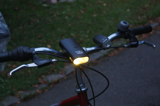 Joule thief based bike led light installed on a bicycle.