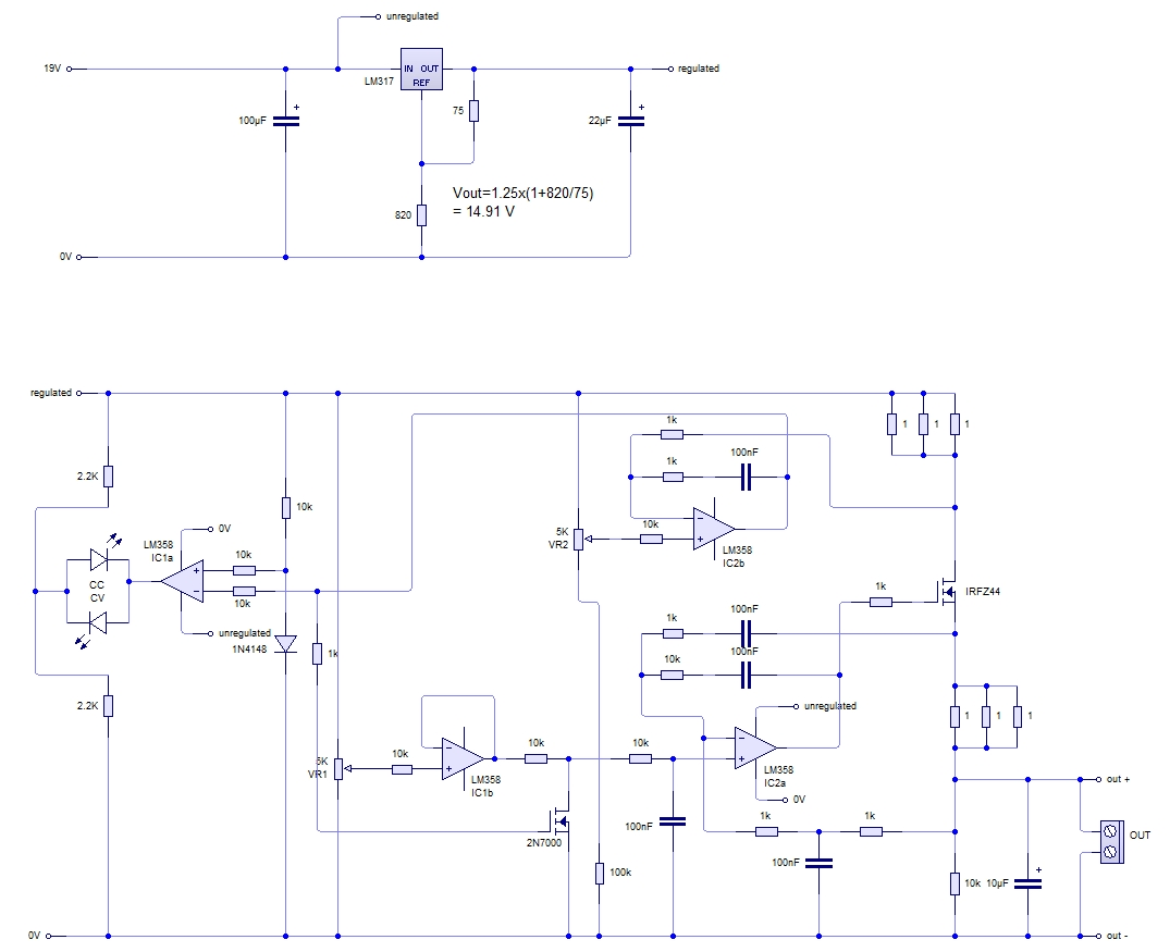 Variable Voltage Bench Supply With Current Limiting Just Add Electrons 24v Dual Power Regulated Circuit Diagram Schematic In The Final Above Ic2a Regulates Output